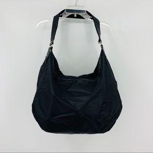 Levenger Black Nylon and Leather Hobo Bag